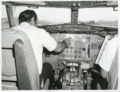 The pilots prepare for take off on a Boeing 737 jet at Wellington Airport (Archives New Zealand) Tags: archivesnewzealand archives archivesnz nationalpublicitystudios aotearoa tourism newzealand newzealandhistory nz nzhistory history
