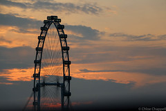 Sunrise over the Singapore Flyer (_chloechappell) Tags: sunrise dawn sun sunlight orangesky orange sky clouds scene scenery wheel singaporemarina marinabaysands asia singapore skyline tourism touristattraction attraction holiday travel abroad canon canoncamera canon700d closeup shadows outline lines clear clarity eos digital grey outdoors