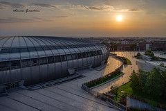 Budapest sport arena (Simone Ginestrini) Tags: budapest sport arena simone ginestrini simoneginestrini fina pentax fullframe pentaxk1 k1 alba sunrise backlight skyline sun orange warm color morning wakeup travel summer cityscape streetlight dusk