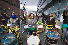 St.Patrick's Day Parade, Liverpool, 2018. (f22photographie) Tags: stpatricksday stpatricksdayparadeliverpool communitygroups parades streetparades culture paddysday stpatricksdayparade2018 drummingdancecarnivalband braziliandrums colourful fun characters streetphotography