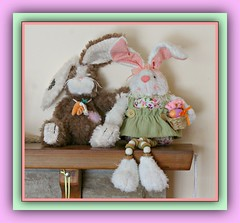 Bunnies & Easter Pastels (bigbrowneyez) Tags: bunnies charming pretty pastels eggs plush carrots bunnyears easterbunnies fun funny lovely cute cuddly adorable precious amusing celebration easter happyeaster cornice frame april1st2018 happy joyful delightful fancy delicate basket beads bunnieseasterpastels rabbits collection stilllife love happiness couple postcard
