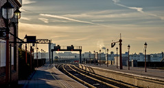 The morning train (Peter Leigh50) Tags: train railway station birmingham moor street sky skyscape city cityscape lamp post water crane railroad transport fujifilm fuji xt10 pathscaminhos