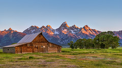 (Clint Everett) Tags: landscape nature mountains mountainside wyoming tetons grandtetonnationalpark national parks mormonrow sunrise country rural barn farm moulton