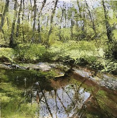 Transparent Lem - oil on canvas 60 x 60 cm available (www.sandragraham.co.uk) Tags: paintingartworcestershireshropshirelembrookwyreforestcontemporarylandscapepainting artartworkartistartistscontemporaryartcollectorstreambrookburnwaterflowingnaturepaintingartistsimpastopainting reflection tranquility trees