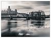 Ice gliding (PhotoKaton) Tags: city stockholm ice water bridge black white monochrome bw nd ndfilter