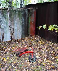 Along the Bank of the river Pripyat (Aad P.) Tags: chernobyl чорнобиль pripyat припять ukraine україна sovietunion cccp nuclearpowerplant radioactivity radiation urbex urbexphotography exclusionzone riverpripyat bankoftheriverpripyat childrensbike