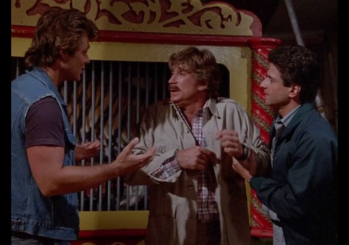 "Greg Evigan, Alex Cord, Mark Shera, Murder She Wrote, ""Death Stalks the Big Top,"" 1986"