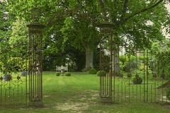 Les Jardins de la Mansonnière (JLM62380) Tags: jardins mansonnière gardens garden saintcénerilegérei normandy france tree pelouse grille banc bench