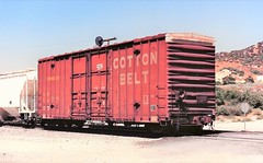 Cotton Belt hi-cube boxcar playing caboose at Cajon Summit in 1993 (Tangled Bank) Tags: train railroad railway rolling stock cars equipment freight old classic heritage vintage fallen flag ssw cajon pass summit california