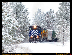 Snowy Ascent (funnelfan) Tags: train railroad railway shortline locomotive pnw pacificnorthwest eastern washington gateway ewg cw centralwashington wheat grain snow sd45 sd40t2