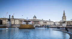 20180318_F0001: Thumbs up for the National Gallery (wfxue) Tags: london building trafalgarsquare square sky water pond fountain people nationalgallery museum fourthplinth thumb art sculpture reallygood stmartininthefields church tower architecture longexposure