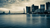 Macau Skyline ( black and white) (hailjoyce) Tags: lisboaandgrandlisboahotelmacaustreetview calm water macau science center tower mgm wynn mandarin oriental hotel
