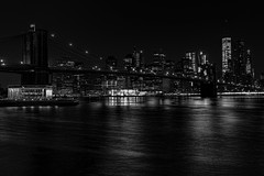 Night (Bob90901) Tags: night newyorkcity brooklynbridge oneworldtradecenter janescarousel spring empirefultonferrystatepark cityscape eastriver rpg90901 skyscraper longexposure skyline waterfront bridge water buildings river canon 6d canonef2470mmf28liiusm city urban monochrome blackandwhite brooklynbridgepark 2016 april 0507 architecture manhattan