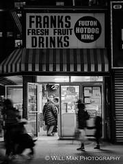 Fulton Hot Dog King (Will.Mak) Tags: store fultonstreet street streetphotography streetphotographynyc storyofthestreets food vendor fulton franks drinks hotdog bw monochrome blackandwhite noir olympus penf m45mm f18 olympuspenf olympusm45mmf18 m45mmf18 45mmf18
