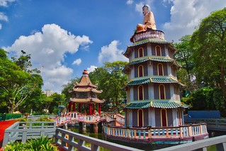 Chinese Pavilion and Pagoda with turtle pond at Haw Par Villa in Singapore
