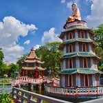 Chinese Pavilion and Pagoda with turtle pond at Haw Par Villa in Singapore thumbnail