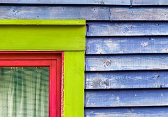 Corner (Karen_Chappell) Tags: window green pink blue wood wooden painted paint house lines geometry geometric line clapboard jellybeanrow home stjohns rowhouse downtown city newfoundland urban eastcoast avalonpeninsula atlanticcanada canada multicoloured colourful colours colour color