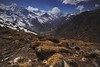 Manang Valley View (PoetheusFotos) Tags: annapurna circuit braga manang ice lake cloud yellow blue contrast stream winter river nepal himalaya rocks boulders view landscape mountainscape nature hiking