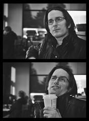A Natural Model (flashfix) Tags: april052018 2018inphotos ottawa ontario canada nikond7100 40mm nikon flashfix flashfixphotography portrait diptych nardrait male man glasses coffee whysoserious monochrome blackandwhite