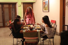 Neeta making sure the kids are alright (olive witch) Tags: 2017 abeerhoque bangladesh bd dec17 december dhaka fem group indoors night nye party