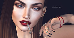 ^^ Swallow ^^ Ears Contest 2018 - 1 - dolceluna Myoo  close up (dolceluna_myoo Photographer) Tags: kunst portrait closeup swallow astralia nails ears maitreya lelutka bento secondlife sl digitalart art fashion pictures photo contest eyes rings smoke cigarette shadows red noir hairs