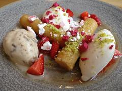 rhum baba (n.a.) Tags: rum rhum baba dessert toms kitchen canary wharf london e14 food cream strawberries icecream