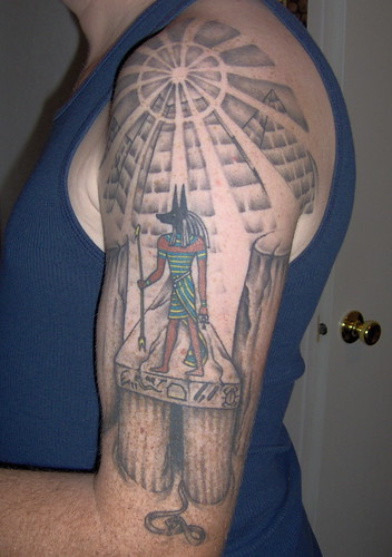 Anubis mural tattoo. Artist: Rolin @ X-treme Tattoos Lorain,