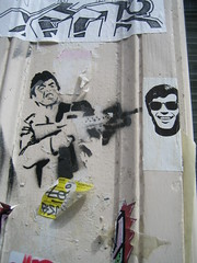 Kill that Poshy Guy! (Dr Case) Tags: streetart paris stencil sticker scarface sich spliffgachette
