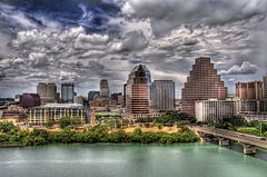 Austin Summer Afternoon (Stuck in Customs) Tags: clouds buildings austin river downtown texas d70 coloradoriver townlake hdr thatotherpaper