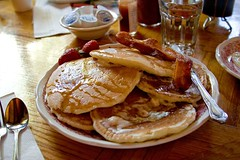 Bacon batter pancakes (Heather Leah Kennedy) Tags: california food lake pancakes breakfast bacon south nevada tahoe pancake heidis batter icouldonlyeatliketwoofthese
