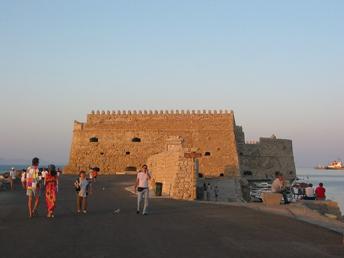Heraklion port in the evening, Koules fortress