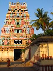 Jambu Colorful Gopura (Christian Lagat) Tags: woman india colour temple evening femme lettering colourful shiva heavy soir hindu tamil couleur tamilnadu bold aum inde trichy hindouisme भारत gopura tiruchirapalli tamilscript jambukeshwara