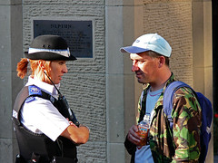 Sir, Your Fashion Sense Is Appauling, You Have Been Warned (JP.G) Tags: life county street city uk england people woman man art hat female river bottle durham britain citylife police prince pop wear riverwear panasonic backpack copper bishops northeast neptune countydurham bodyarmor dmcfz30 panasonicdmcfz30 durhamcathederal princebishops