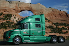 My truck at Wilson's Arch in Utah (Jenni Reynolds-Kebler) Tags: show road trip truck volvo utah dallas texas arch grandcanyon grand roadtrip canyon 100views moab bryce wilsons 1000views 18wheeler truckshow dallastexas 2000views 3000views 10favorites 4000views wilsonsarch 5600views