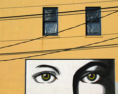 Windows and Windows (Steven Schnoor) Tags: windows urban usa color detail building art window wall washington eyes mural colorful pacificnorthwest foundart washingtonstate pnw chehalis westernwashington schnoor simplelogic saywa experiencewa addtcontent