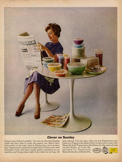 Clever on Sunday, Tupperware ad, 1950s?
