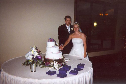 Melissa and Sean cut the cake