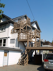 Wooden Fire Escape? (hobo4hire) Tags: urban fireescape ironic questionable woodstructure