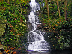 Buttermilk Falls (Front View) (Nicholas_T) Tags: summer creek forest waterfall newjersey lowlight stream falls creativecommons deciduous buttermilkfalls sussexcounty walpack delawarewatergapnationalrecreationarea 123nj easternnorthamericanature wallpack