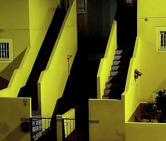 Neighbours (Geir Halvorsen) Tags: house building yellow night stairs spain shadows torrevieja