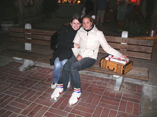 Nina and I in front of Bubba Gumps, Monterey