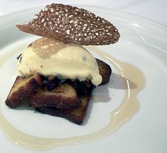 French toast with bacon ice cream