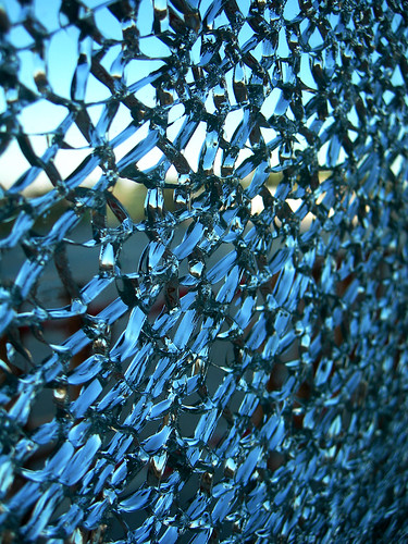 broken glass background. Cracked glass