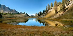 Lac Mirroir / Mirror Lake, a panoramic view (Laurence TERRAS) Tags: autumn trees mountain lake snow france mountains alps reflection nature water alpes automne landscape eau europe lac panoramic arbres 100views neige larch reflexion larches montagnes queyras ceillac hautesalpes melezes meleze lacdemontagne