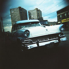 Picture Car (.natalie) Tags: toronto 120 film car vintage mediumformat holga crossprocessed kodak slide hairspray roncesvalles e100