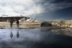 Another reflection (iko) Tags: chile voyage travel people reflection southamerica water pool hotwater desert earlymorning geyser photoshoped waterpool