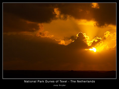 Sunset with Dark Clouds (Joop Snijder) Tags: travel sunset sunrise island nationalpark wadden sand thenetherlands texel dunesdarkcloudssunsunsetsunlightnetherlandssummerwinterseasonalsunbeamrayoflight