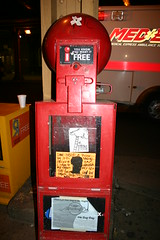 Thig flyer & The VIKING in Lincoln Park, Chicago (fotoflow / Oscar Arriola) Tags: streetart chicago art graffiti newspaper box stickers viking flyers sharkula thig theviking chicagostreetart