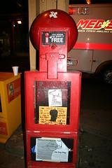 Thig flyer & The VIKING in Lincoln Park, Chicago (fotoflow / Oscar Arriola) Tags: streetart chicago art graffiti newspaper box stickers viking flyers sharkula thig theviking chicagostreetart