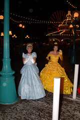 Cinderella and Belle avoiding the rain (Andy Neitzert) Tags: california party halloween goofy mouse dale disneyland bad guys disney mickey donald adventure chip characters pluto minnie villains villians disneys mickeyshalloweentreat